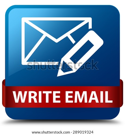Write email blue square button - stock photo
