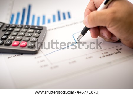 Write financial accounting concept with graphs and charts - stock photo