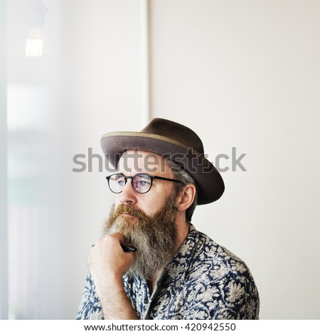Writer Bar Counter Beard Mustache Lifestyle Concept