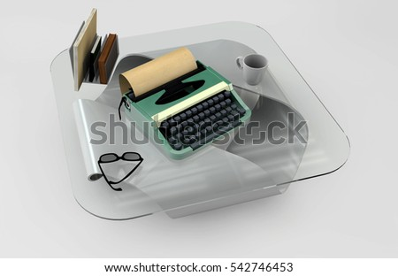 Writer desk mockup set. Desk with typewriter, books, cofe and glass. Workplace of writer or journalist. 3d illustration