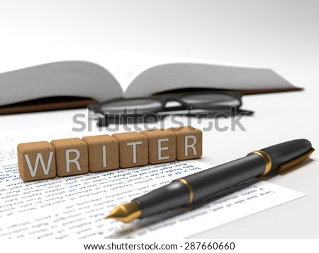 Writer - dices containing the word writer, a book, glasses and a fountain pen. - stock photo