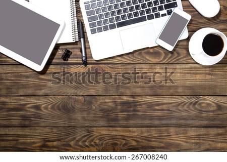 Writer, laptop, table. - stock photo