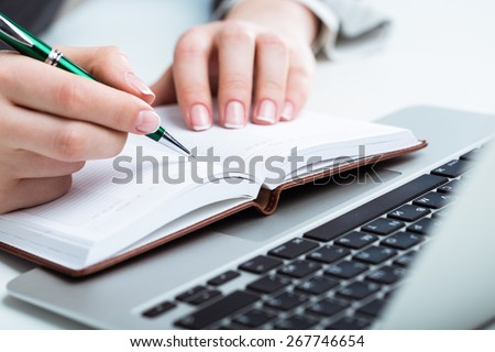 Writer, red, pen. - stock photo
