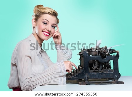Writer, woman, type. - stock photo