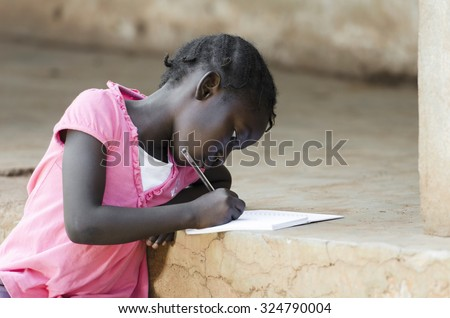 Writing Activity: Little Black Baby Girl starting school, sitting on stairs and learning her first lessons. Education Symbol in African Schools. - stock photo