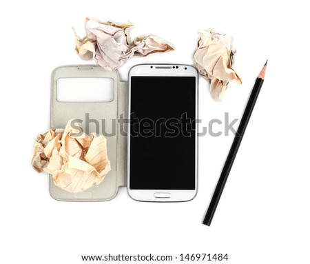 Writing and communicating concept - crumpled up paper wads with pencil and mobile phone on white background - stock photo