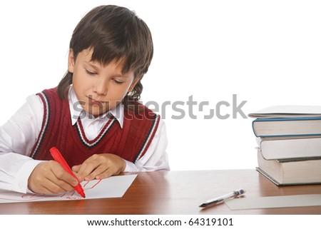 writing boy isolated on the white background - stock photo