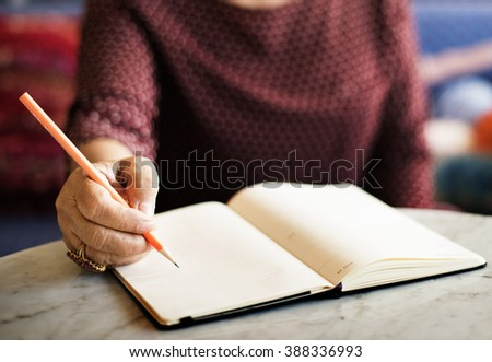 Writing Casual Female Memo Note Leisure Pencil Concept