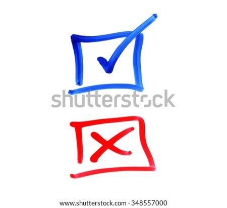 writing check box on white background - stock photo