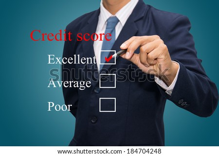 Writing credit score concept.