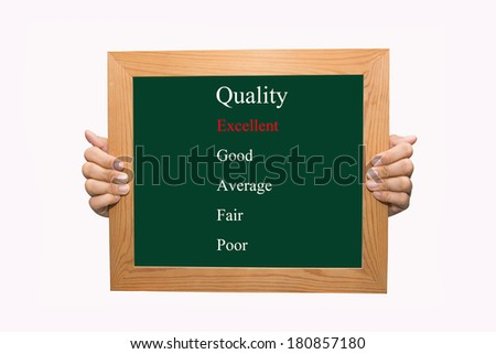 Writing evaluate excellent quality concept  - stock photo