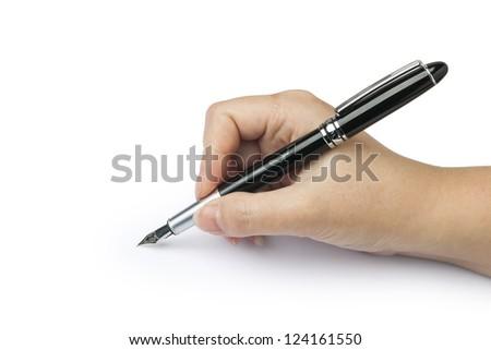 writing hand - stock photo