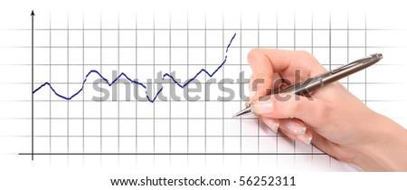 writing hand on diagram - stock photo