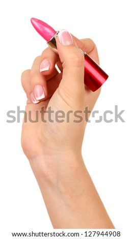 Writing hand with lipstick isolated on white