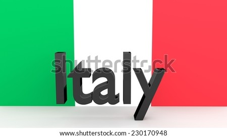 Writing Italy made of dark metal  in front of an italian flag