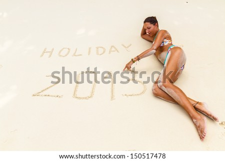 writing on the beach - stock photo