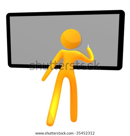 Writing on the black or white board 3d humanoid pictogram icon