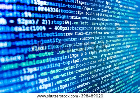 Writing programming code on laptop. Software development. Computer script.  Programming code abstract screen of software developer. Programmer occupation. Monitor photo. Programmer workplace.   - stock photo