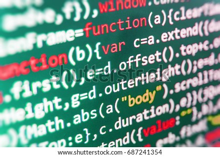 Writing programming functions on laptop. Software development. Javascript functions, variables, objects. Computer program preview. Writing programming code on laptop. Programming code typing.