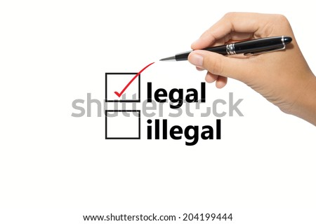 Writing red check mark for legal selection  - stock photo