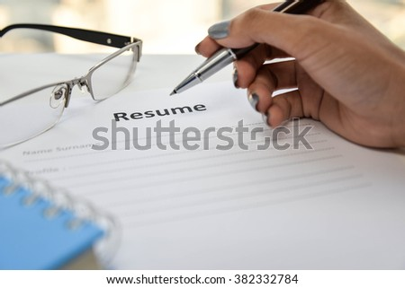 Writing Resume - stock photo