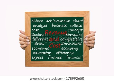 Writing revenue and cost concept  - stock photo