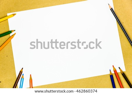 Writing tools on white blank paper copy space