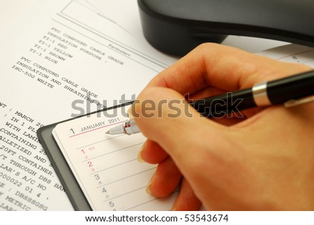 Writing with black pen on 2011 planner with business documents in background, signifying concepts such as office and business, planning for the new year, financial budget and work related objects
