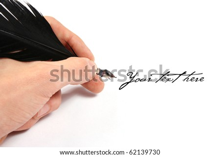 writing with feather - stock photo