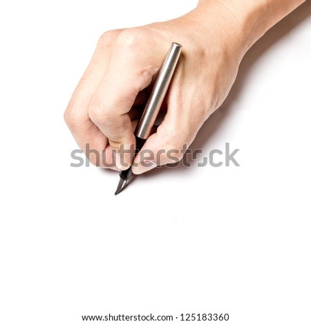 Writing with right hand with shadow on white paper