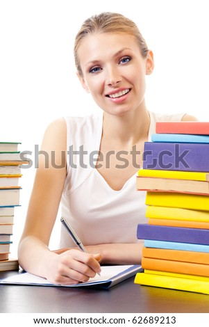 Writing woman with textbooks, isolated on white