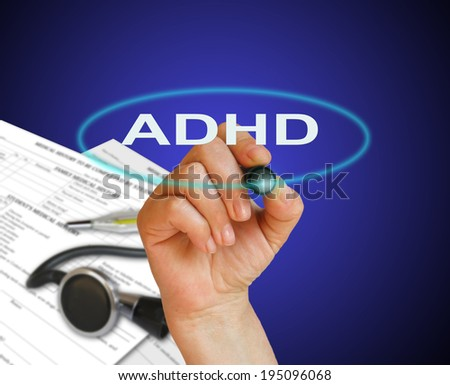 writing word adhd with marker on gradient background made in 2d software - stock photo