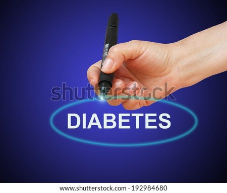 writing word  Diabetes with marker on gradient background made in 2d software - stock photo