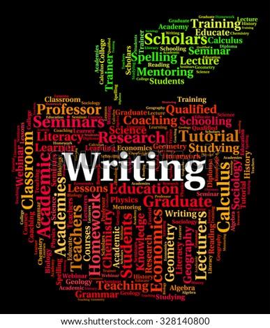 Writing Word Indicating Write Words And Publish - stock photo