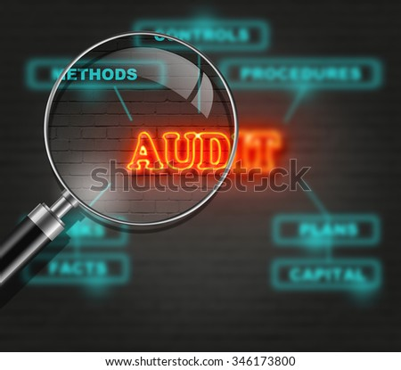 writing   words ' AUDIT '  on bricks  background made in 2d software - stock photo