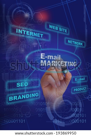 writing  words E- mail marketing on gradient background made in 2d software - stock photo