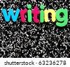 writing written on a black and white speckled school composition notebook - stock photo