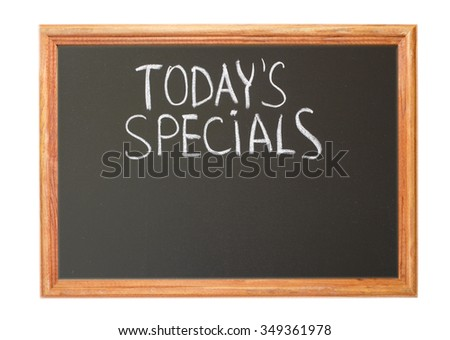 Written in white chalk on a blackboard - today special - stock photo