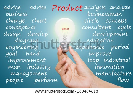 Written product in the light bulb  - stock photo