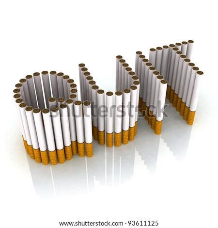 written quit made with cigarettes, 3d illustration - stock photo
