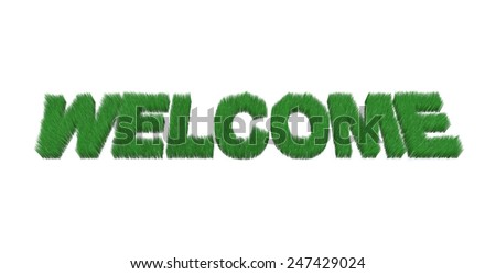 written welcome made with grass, 3d illustration - stock photo