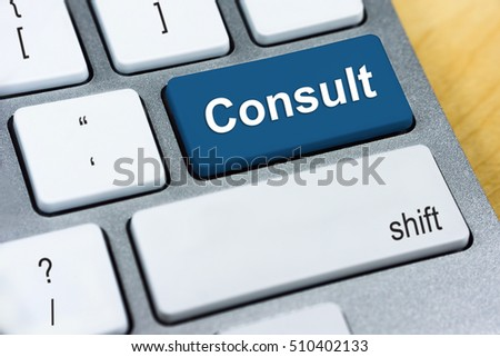 Written word Consult on blue keyboard button