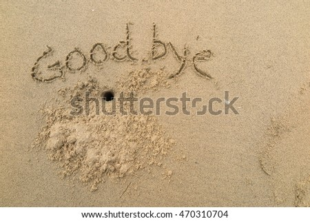 "written words ""Good bye"" on sand of beach"