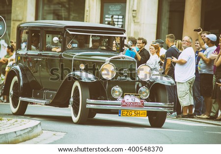 Wroclaw- August 18: Cadillac Lasalle on Motoclassic show in vintage effect, in Wroclaw, Poland on August 18, 2014. - stock photo