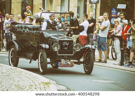 Wroclaw- August 18:Ford 1924 on Motoclassic show in vintage effect  in Wroclaw, Poland on August 18, 2014. - stock photo