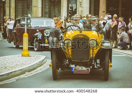 Wroclaw- August 18: Old car on Motoclassic show in vintage effect, in Wroclaw, Poland on August 18, 2014. - stock photo