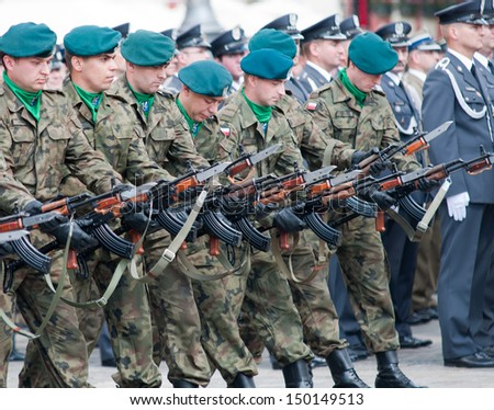 Wroclaw - August 15: Soldiers in action (Day of Polish Army) on August 15 2013 in Wroclaw, Poland
