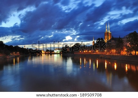 Wroclaw by night. - stock photo