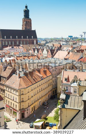 Wroclaw city center, aerial view. Poland