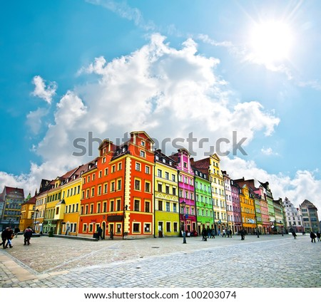 Wroclaw City center, Market Square tenements - stock photo
